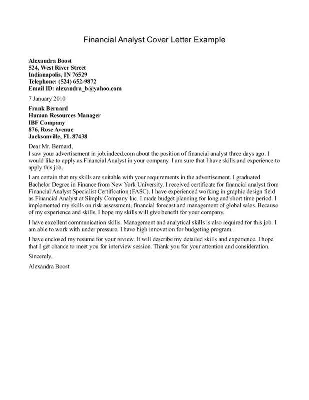 Cover Letter For Analyst Position | The Letter Sample