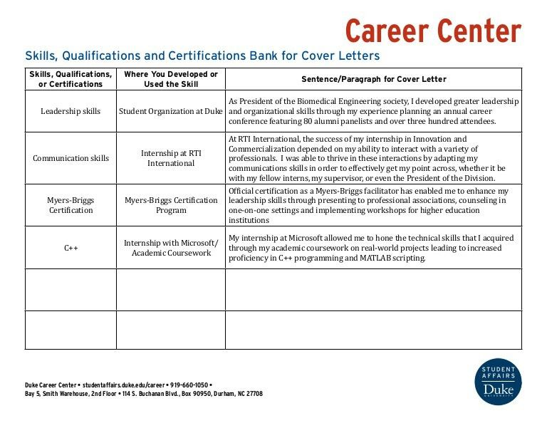Skills Bank for Cover Letters