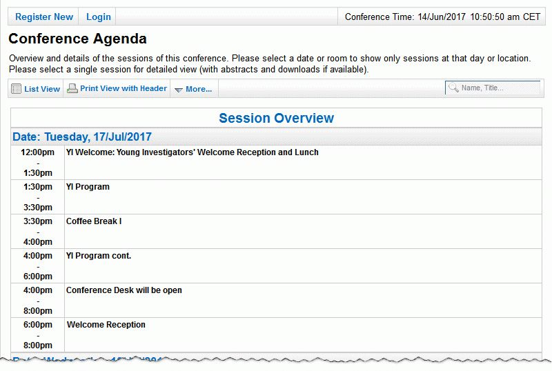 ConfTool: Create the Conference Agenda