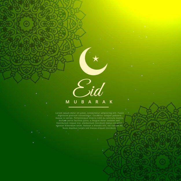 Green eid mubarak festival background Vector | Free Download