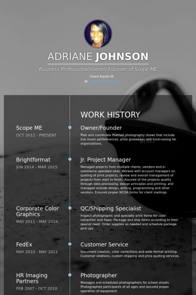 Founder Resume samples - VisualCV resume samples database