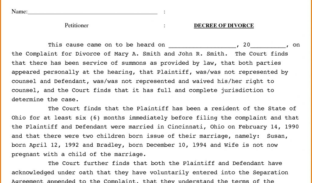 Doc.#403524: Sample Divorce Decree – Doc17002338 Example of ...