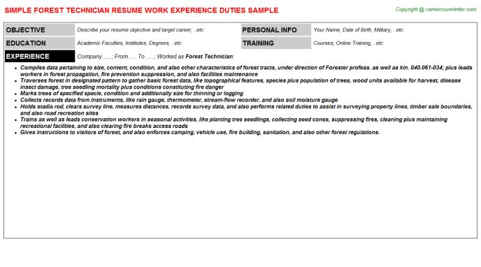 Forest Technician Resume Sample