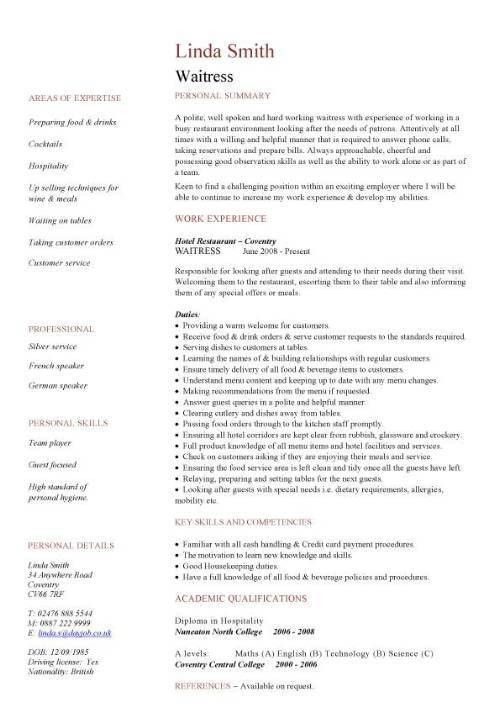 Sample Resume Of Waitress | haadyaooverbayresort.com
