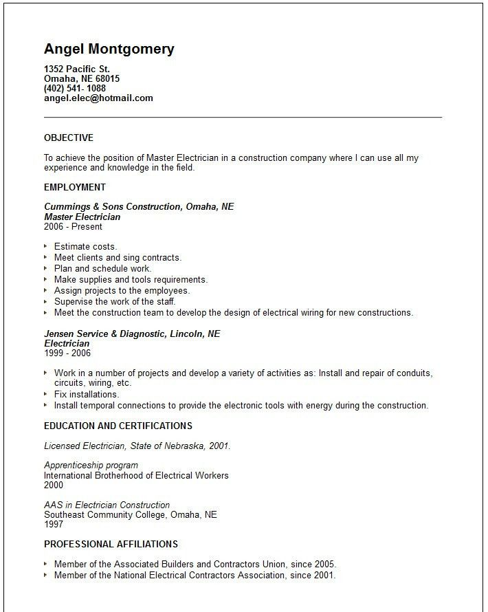 Examples Of Electrician Resumes. Electrician Resume, Occupational ...