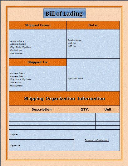 Pics Photos Bill Of Lading Template Microsoft Office Templates ...