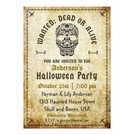 Dead Or Alive Halloween Skull Invitation Card