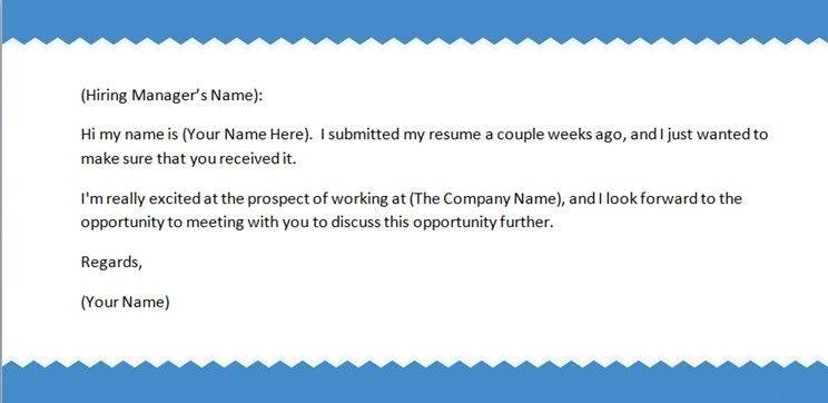 sending a resume via email