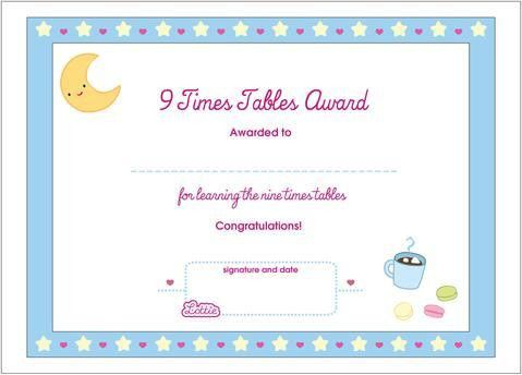 9 Times Tables Printable Award Certificate – Lottie Dolls