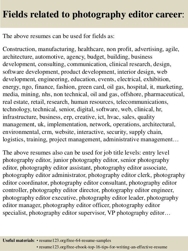 Top 8 photography editor resume samples