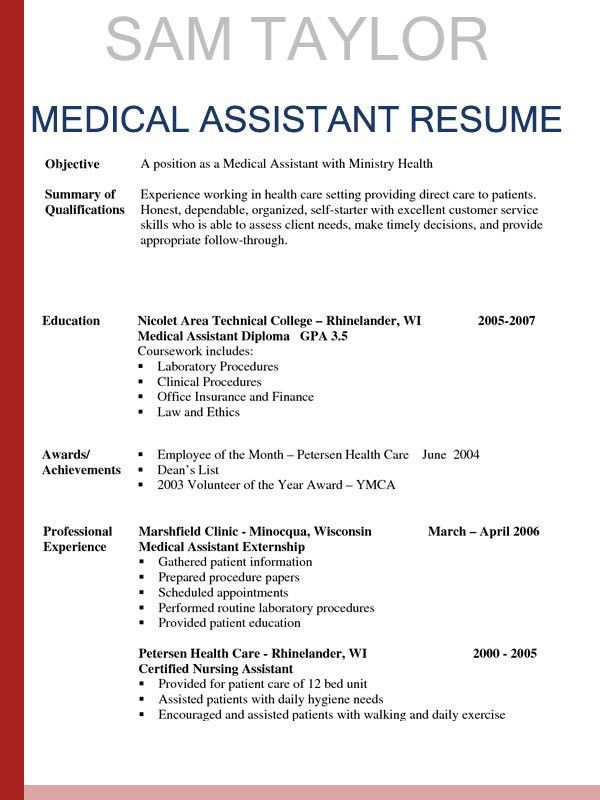medical assistant sample resumes - thebridgesummit.co