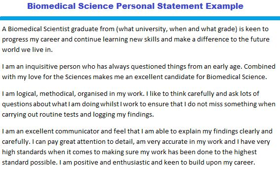 Biomedical Science Personal Statement Example - forums.learnist.org