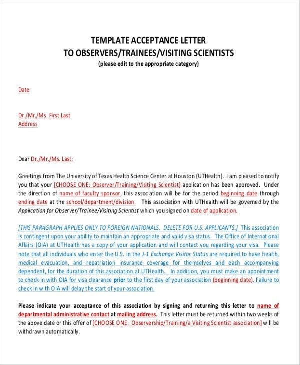 Proposal Acceptance Letter. Samples Of Acceptance Letter ...