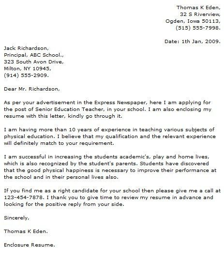Elementary Teacher Cover Letter Examples with Elementary Teacher ...
