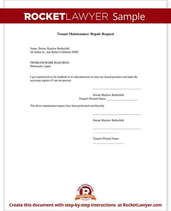 Maintenance Request Form - Tenant Maintenance Request Template