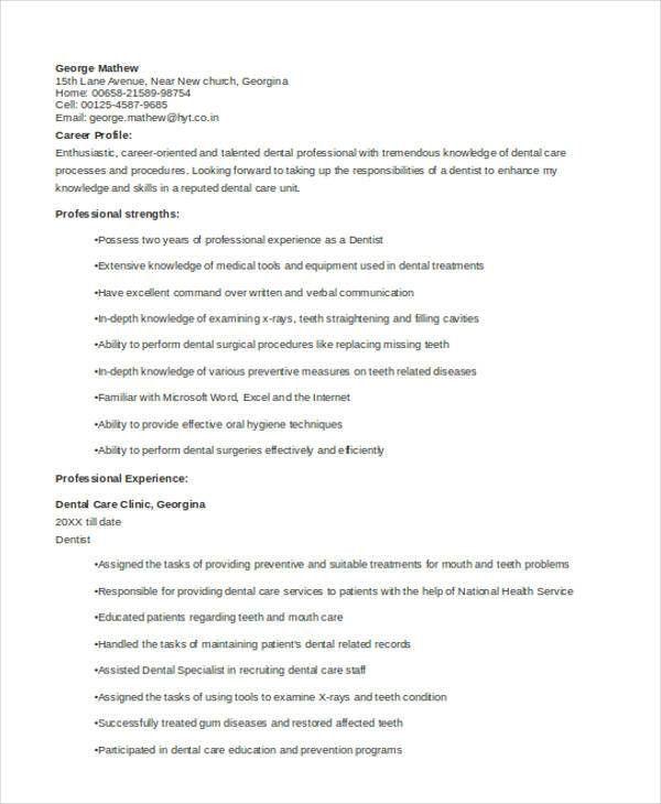 Dentist Resume [Template.billybullock.us ]