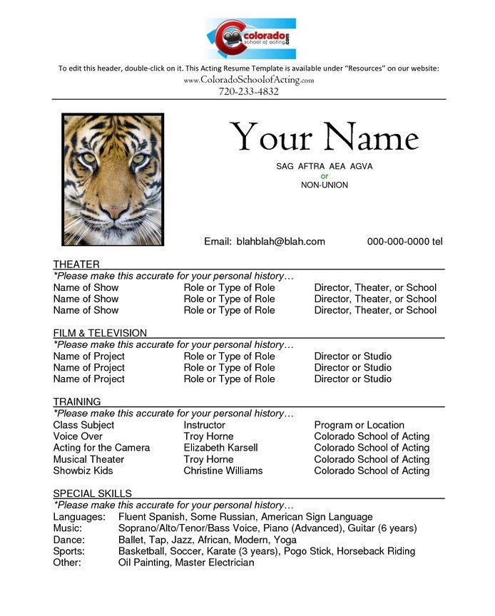 Actor Resume Template | Free Resume Templates