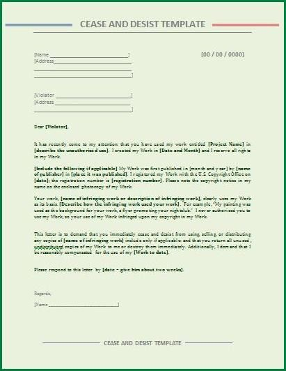 10 Cease and Desist Letter Template | applicationsformat.info
