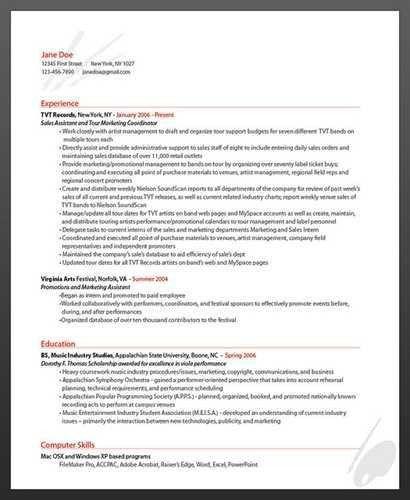 artist sample resume