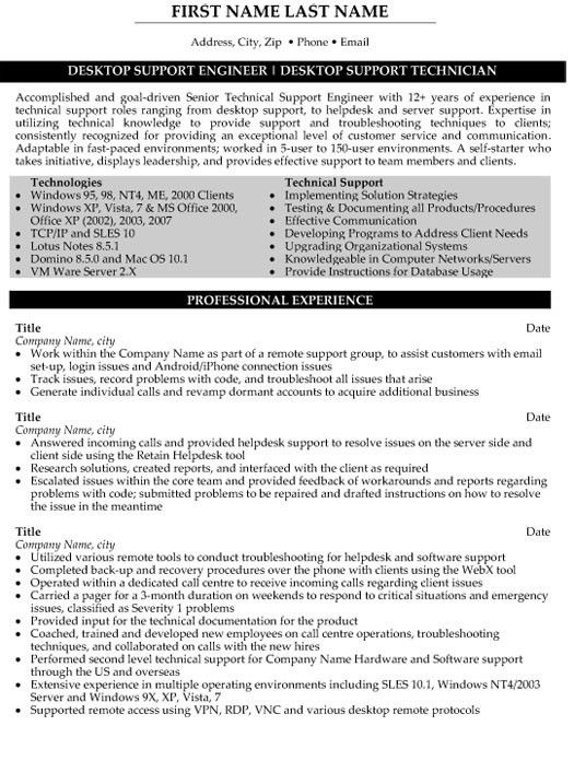 Desktop Support Technician Resume - Resume Example
