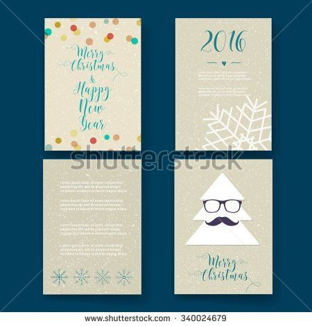 Christmas Card Templates Christmas Posters Set Stock Vector ...