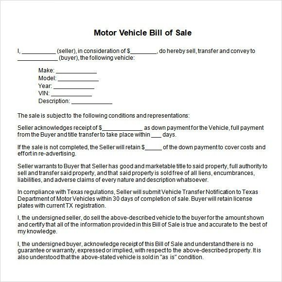 texas motor vehicle bill of sale - Template