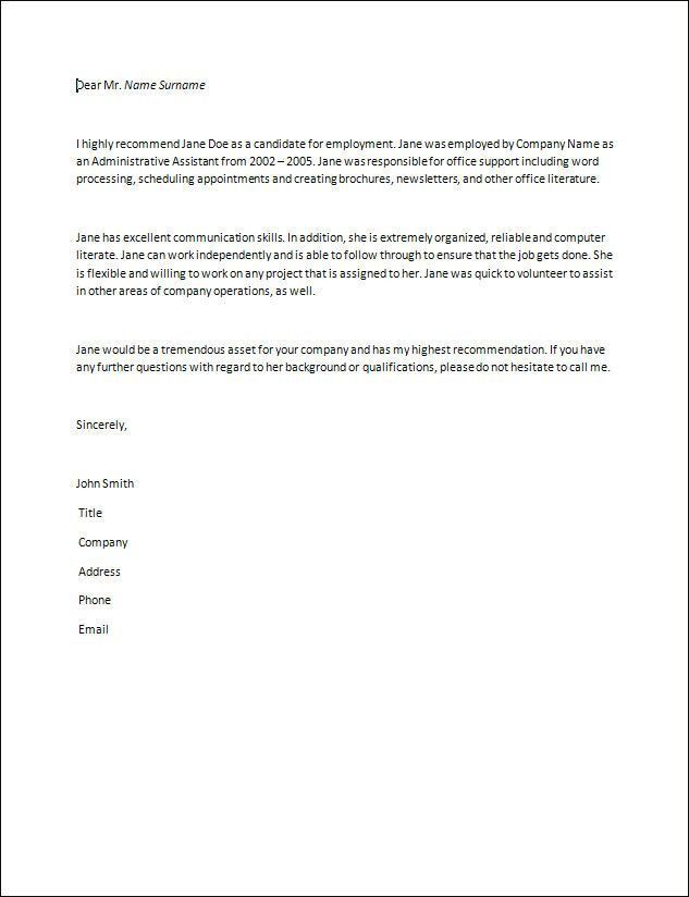 Formatting recommendation letter