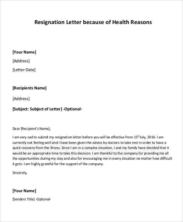 Resignation Letter With Reason. Job Resignation Letter Due To ...