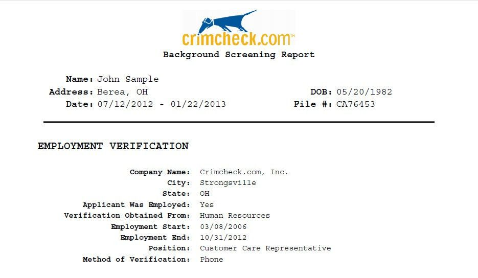 Employment History | Job History Verification Services | Crimcheck