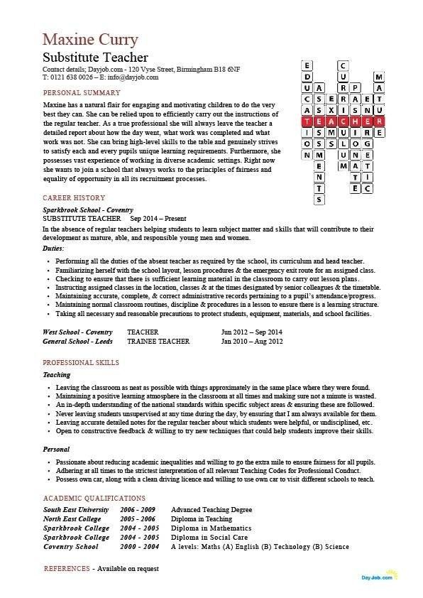 Resume For Substitute Teacher - Best Resume Collection