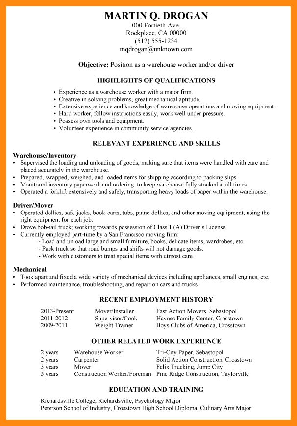 resumes for warehouse workers warehouse worker resume sample