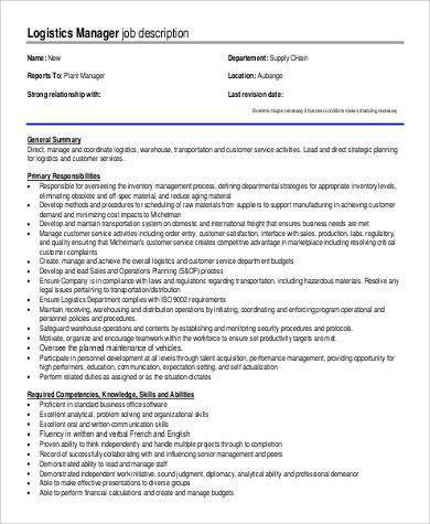 Logistics Manager Job Description. School District Purchasing ...