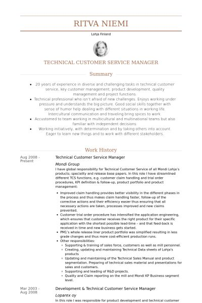 Customer Service Manager Resume samples - VisualCV resume samples ...