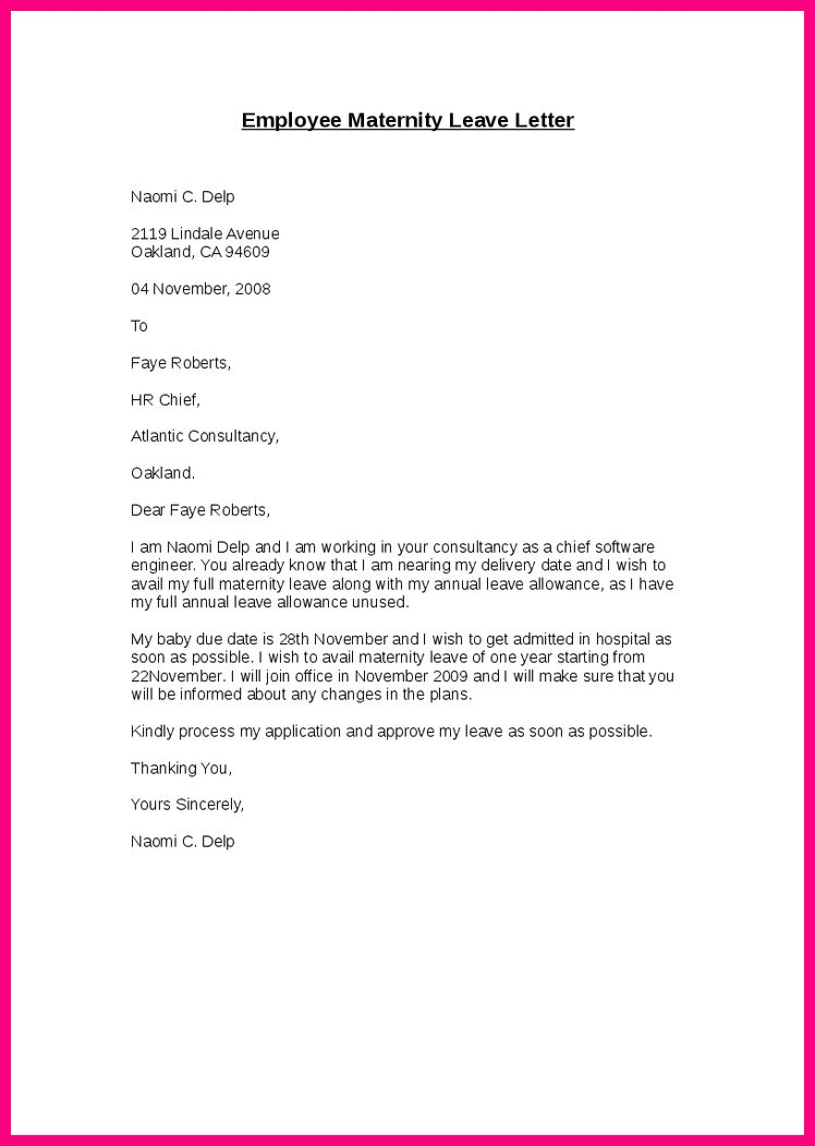 Maternity leave application letter after delivery. Research paper ...