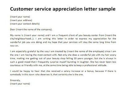 Customer service appreciation letter sample | Letter templates