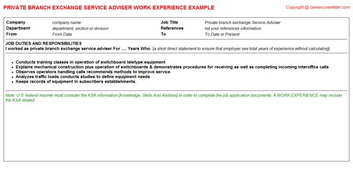 Exchange CV Work Experience Samples