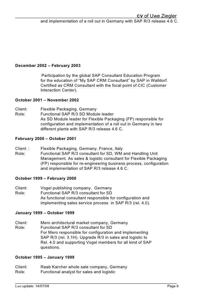 Sap Sd Consultant Resume Template - Contegri.com
