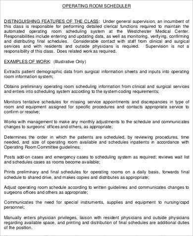 Surgery Scheduler Job Description. Scheduler Resume, Occupational ...