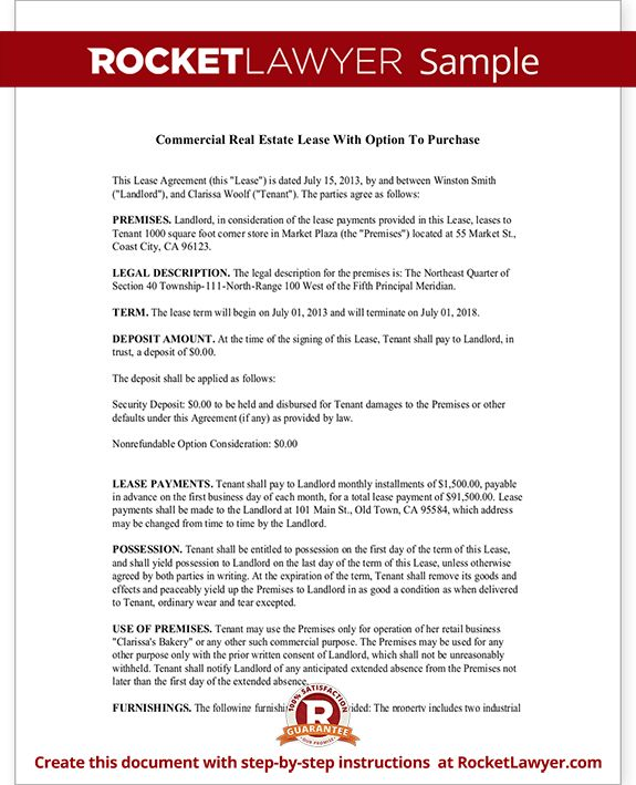 Commercial Real Estate Lease Agreement with Option to Purchase
