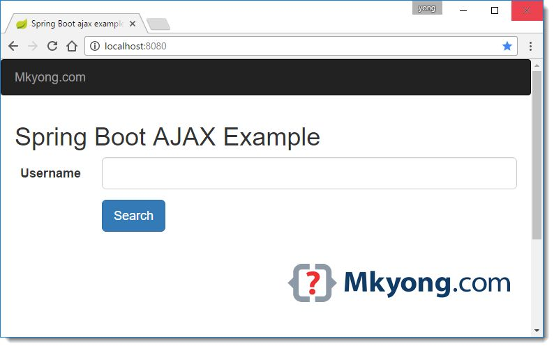 Spring Boot Ajax example