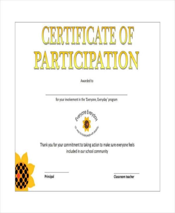 Certificate Of Participation Template - 7+ Free Word, PDF ...