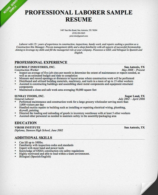 Impressive Design Construction Resume Sample 1 Construction Worker ...