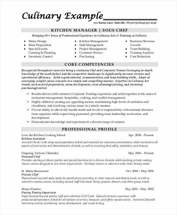 sample chef resume 8 examples in word pdf - Personal Chef Resume