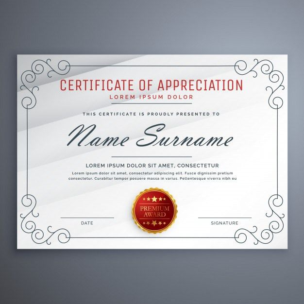 Certificate design template with decorative border Vector | Free ...