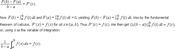 12.1 The Mean-Value Theorem For Integrals