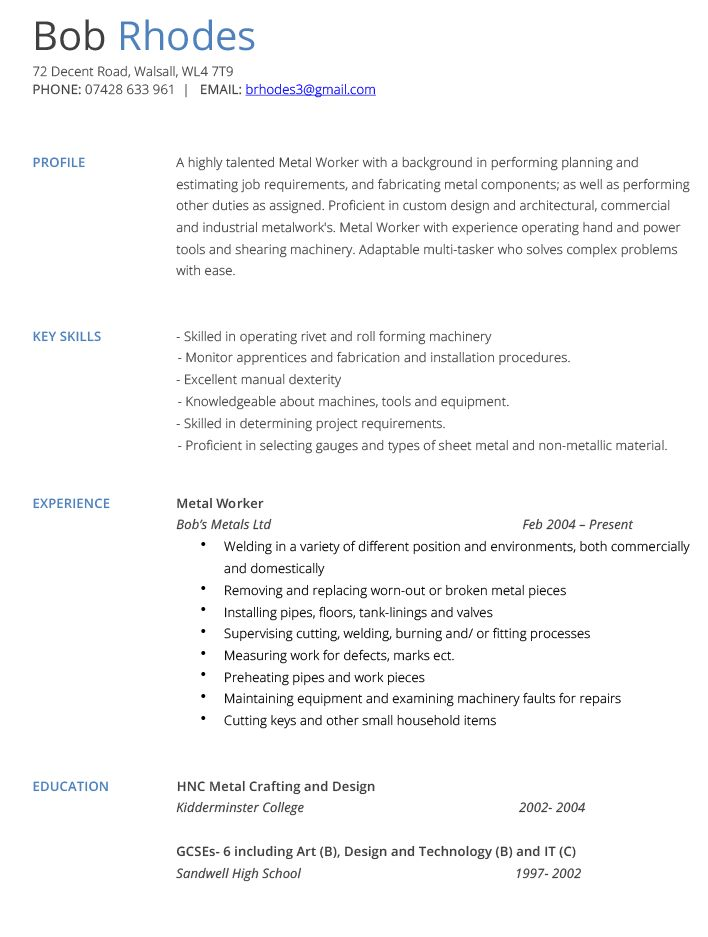 Metal Worker Cover Letter