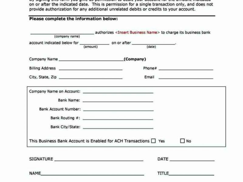 Ach Withdrawal Authorization Form Template | Besttemplates123