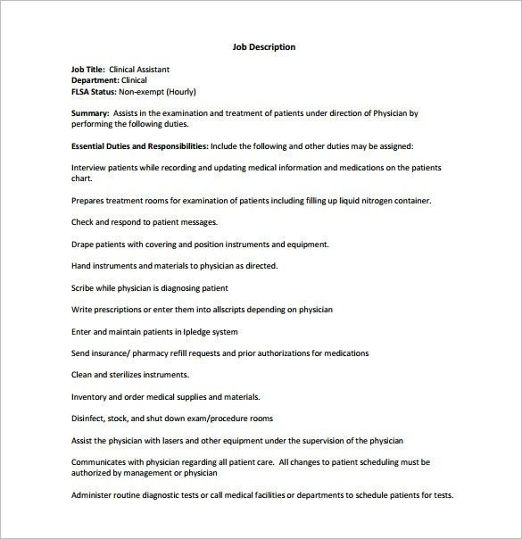 Medical Assistant Job Description Template – 10+ Free Word, Excel ...