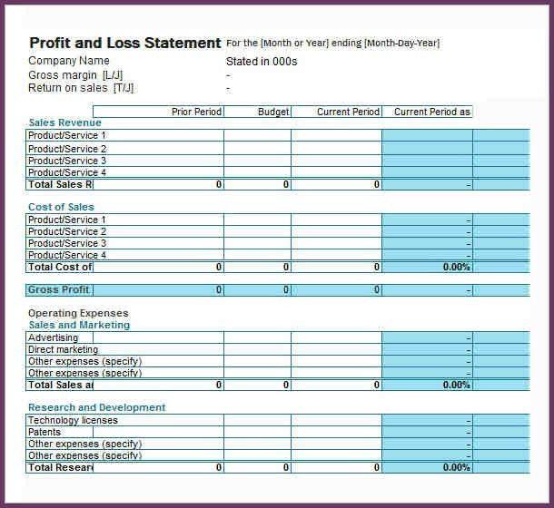 PROFIT AND LOSS STATEMENT SAMPLE | cvsampleform.com