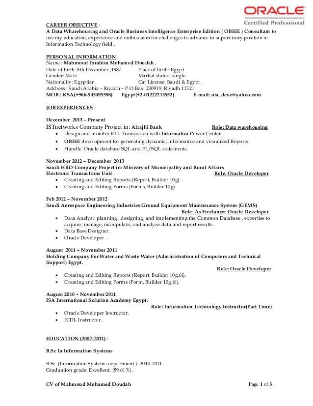 Cv of mahmoud mohamed doudah dwh developer-